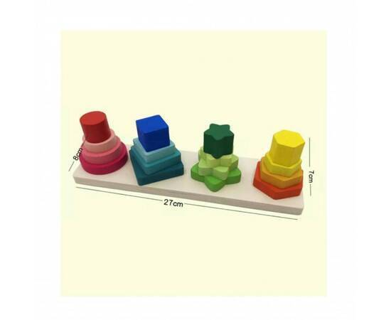 Wooden educational game, geometric shapes, image