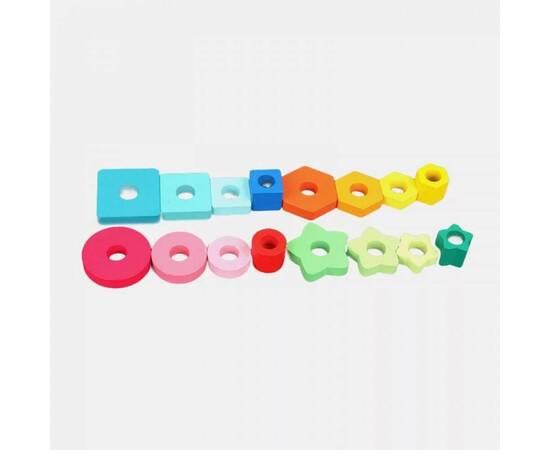 Wooden educational game, geometric shapes, image , 2 image