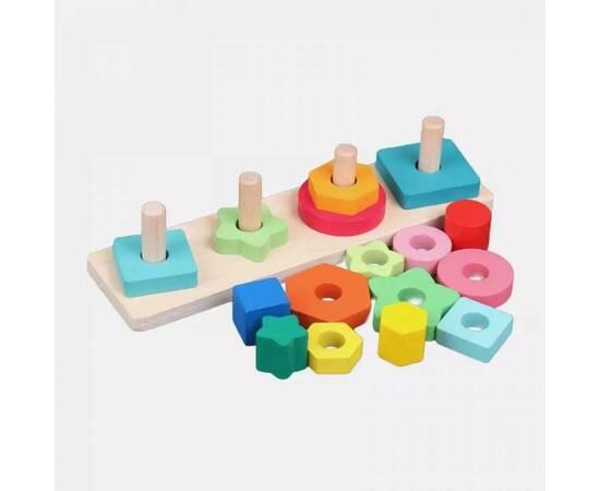 Wooden educational game, geometric shapes, image , 3 image