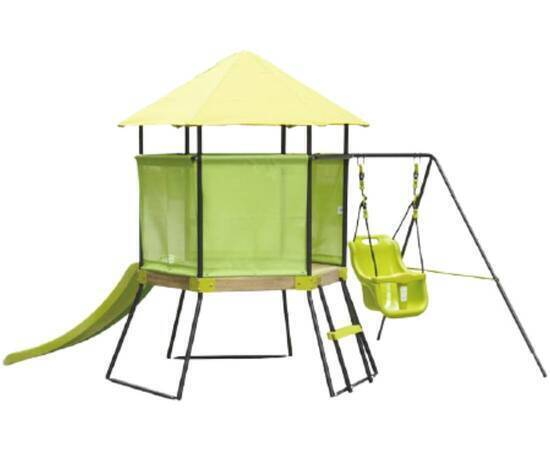 House with a Slide and Swing for Kids, Green, image