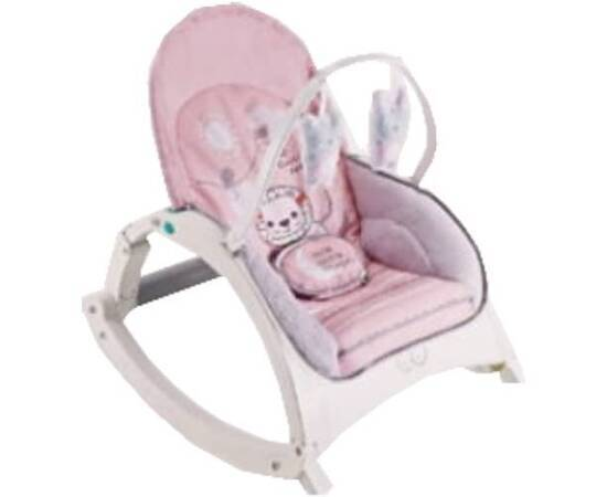 Baby Rocking Chair with Toys Multiple Colors + Installable Food Table, Color: Pink, image